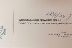 Życzenia noworoczne, Toruńskie Towarzystwo Kultury.