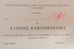 Zaproszenie na zabawę karnawałową, Szkoła Podstawowa nr 3 w Toruniu.