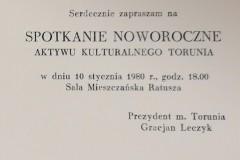 Zaproszenie na spotkanie noworoczne z prezydentem Gracjanem Leczykiem.