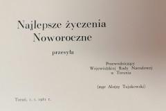 Życzenia noworoczne, Przewodniczący Wojewódzkiej Rady Narodowej w Toruniu.